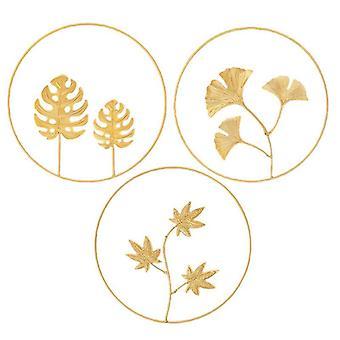 3kpl pohjoismainen tyyli kultainen pyöreä seinäkoriste