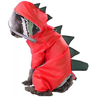 Dog Raincoat Hooded Waterproof Lightweight Suit Suitable For Puppies And Pets (red)