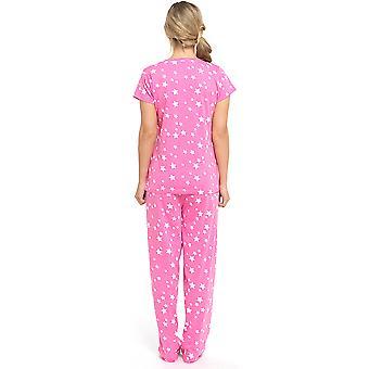 Ladies Tom Franks Summer Fun Print Short Sleeve Pyjama Set pajama Sleepwear 8-10 Pink - Star