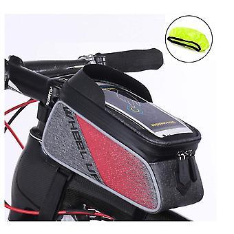 الدراجة الإطار حقيبة, ماء ركوب الدراجات أمام أنبوب أعلى الحقيبة بانييه دراجة العارضة حقيبة ملحق حامل الدراجة جبل الهاتف لفون 12 11 برو ماكس XS XR X 8 بالإضافة إلى سامسونج الهاتف الذكي تصل إلى 6.5''(الأحمر)