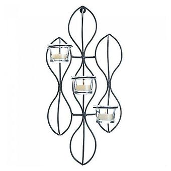 Galleri av lys abstrakt jern trippel stearinlys vegg sconce, pakke med 1