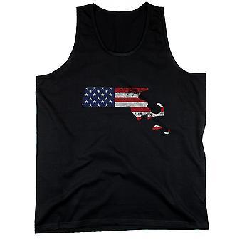 MA valtion USA lippu miesten Hihaton toppi Massachusetts Yhdysvaltain lipun säiliöt