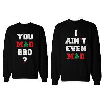 Du galen Bro jag är inte ens galna par tröjor roliga grafiska tröjor