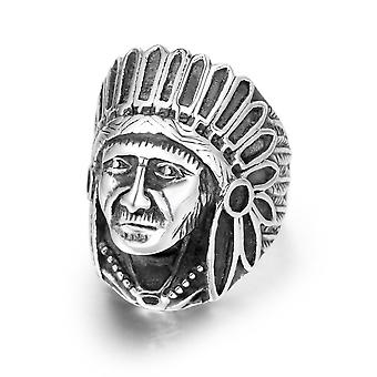 Indian Chief Retro Distressed Titanium Steel Rings Uomo e Donna Indice Indice Anello Sa387