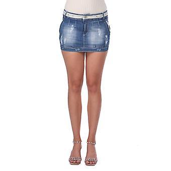 blå hvit kvinners mini denim skjørt