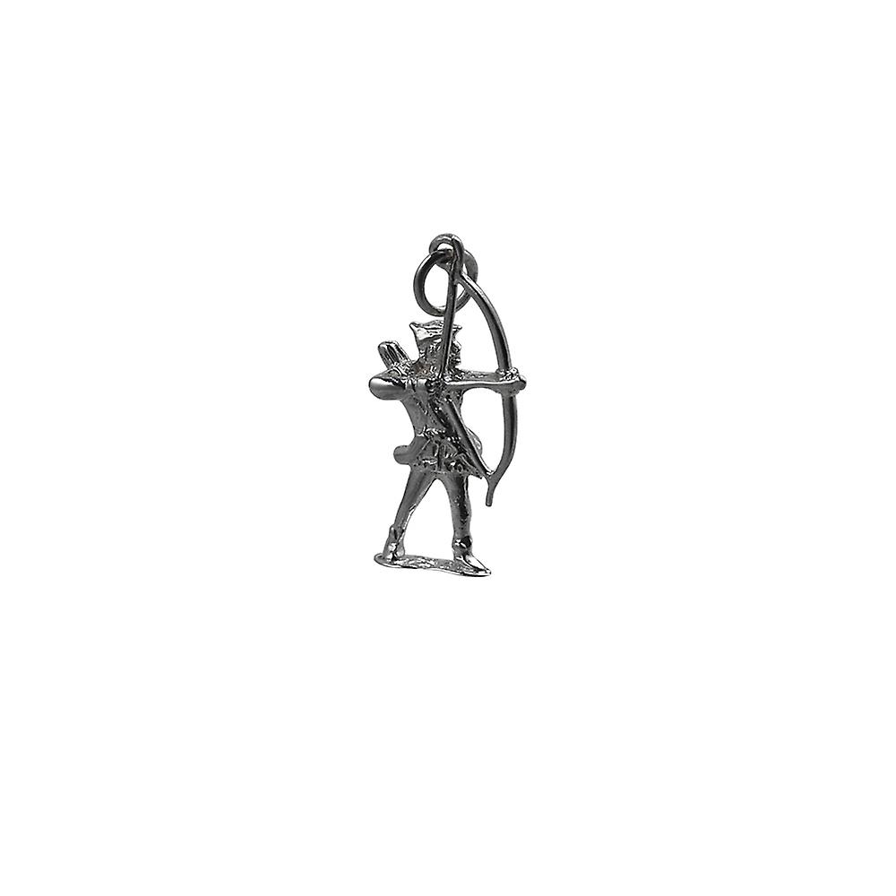 Silver 14x26mm Robin Hood with bow and arrows Pendant or Charm