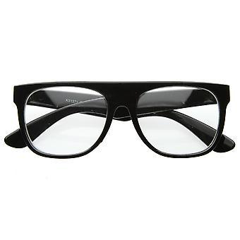 Retro Eyewear Super Flat Top Horn Rimmed Style Clear Lens Glasses