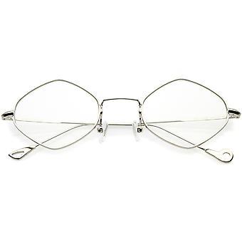 Premium Small Metal Diamond Eyeglasses Ultra Slim Arms Color Tinted Flat Lens 51mm