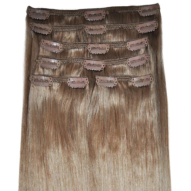Tête pleine lumière brune - Extensions à clips cheveux - #8