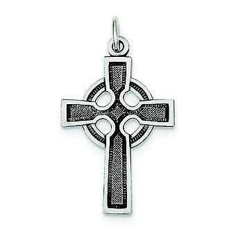 925 sterling silver solid strukturerad tillbaka antik finish polerad och satin Celtic och Iona Cross charm