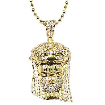 Gold Mini Jesus Piece with Crystal Detail and 30 inch ball chain