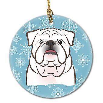 Carolines trésors BB1654CO1 flocon de neige blanc Bulldog anglais ornement céramique