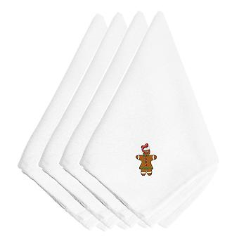 Christmas Gingerbread Lady Embroidered Napkins Set of 4