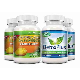 Pure African Mango 2400mg and Detox Cleanse Combo Pack - 2 Month Supply - Dietary Supplement and Cleanse - Evolution Slimming