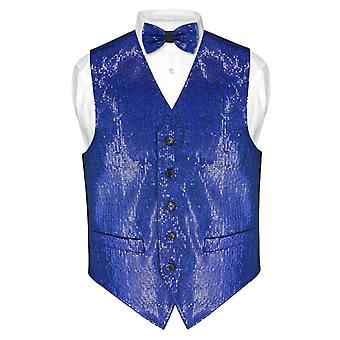 Herren Pailletten Design Kleid Weste & Bow Tie BOWTie Set