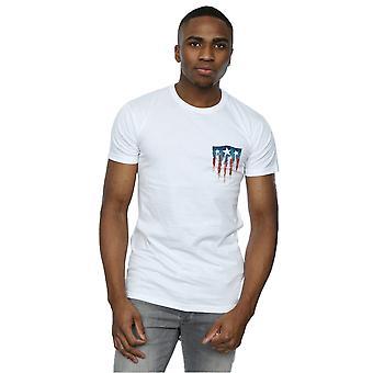 Marvel miesten Kapteeni Amerikka Splatter Shield faux Pocket T-paita