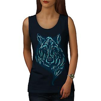 Wolf Beast Calm Animal Women NavyTank Top | Wellcoda