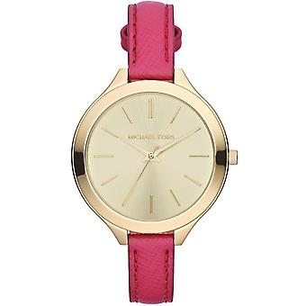 Michael Kors Slim Runway Ladies Watch Gold Dial Dark Pink Strap MK2298