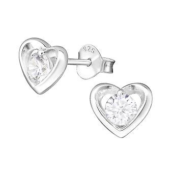 القلب-ترصيع الإذن زركونيا مكعب فضة 925-W35463x