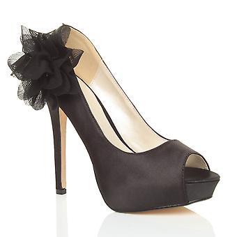阿杰瓦尼妇女高跟鞋平台窥视脚趾花婚礼新娘舞会晚鞋