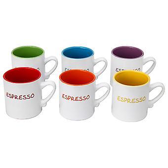 Satz von 6 Mini Espresso Tee Kaffee Keramiktasse sortierte Farben 110ml