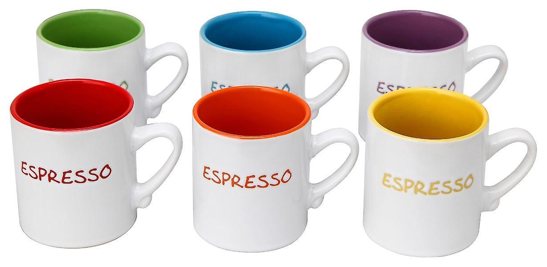 Set of 6 Mini Espresso Tea Coffee Ceramic Mugs Assorted Colours 110ml