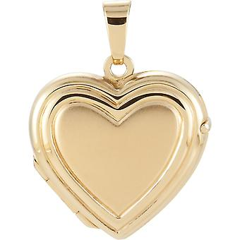 14k Yellow Gold Love Heart Shaped Photo Locket Pendant Necklace 15.75x17.25mm Jewelry Gifts for Women