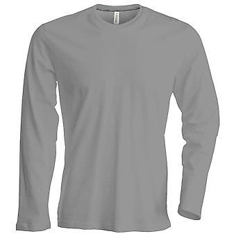 Kariban Mens Slim Fit Long Sleeve tripulação pescoço planície cores t-shirt de algodão