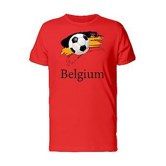 Sports Football Soccer Ball Belgium Men's Red T-shirt