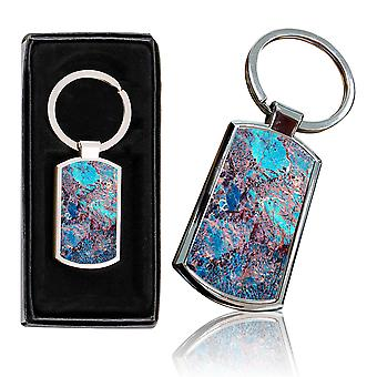 i-Tronixs - Premium Marble Design Chrome Metal Keyring with Free Gift Box (3-Pack) - 0003