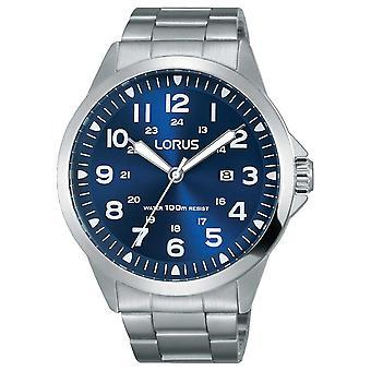 Lorus ruostumattoman teräksen rannerengas sininen soittaa RH925GX9 kellot