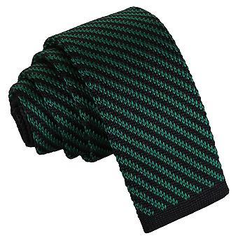Sort og grøn Diagonal stribe strikkede mager slips