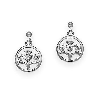 שטרלינג-סילבר סקוטיש עיצוב גדילן ' הפרח של סקוטלנד ' זוג עגילים מעוצבים-E151