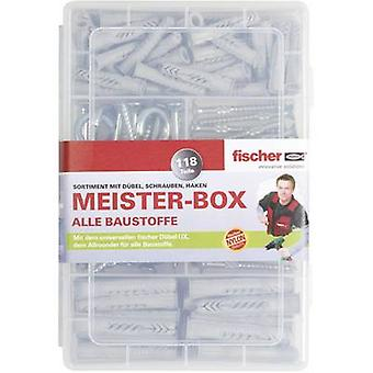 Fischer 513894 Meister-Box with UX-R dowels, screws, round and angular hooks Content 118 Parts