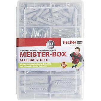 Fischer 513894 Meister-Box con clavijas UX-R, tornillos, ganchos redondos y angulares Contenido 118 Piezas