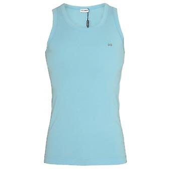 Dolce & Gabbana FUGIA Stretch Cotton Tank Top, Light Blue, X-Large