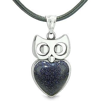 Amulet Owl Cute Heart Lucky Charm Positive Energy Blue Goldstone Pendant Leather Necklace