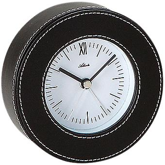 Atlanta 3048 alarm clock quartz analog leather black round