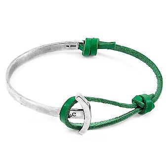 Anchor & Crew Fern Green Galleon Anchor Silver and Flat Leather Half Bangle