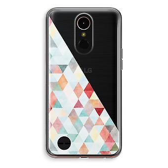 LG K10 (2018) Transparent fodral (Soft) - färgade trianglar pastell