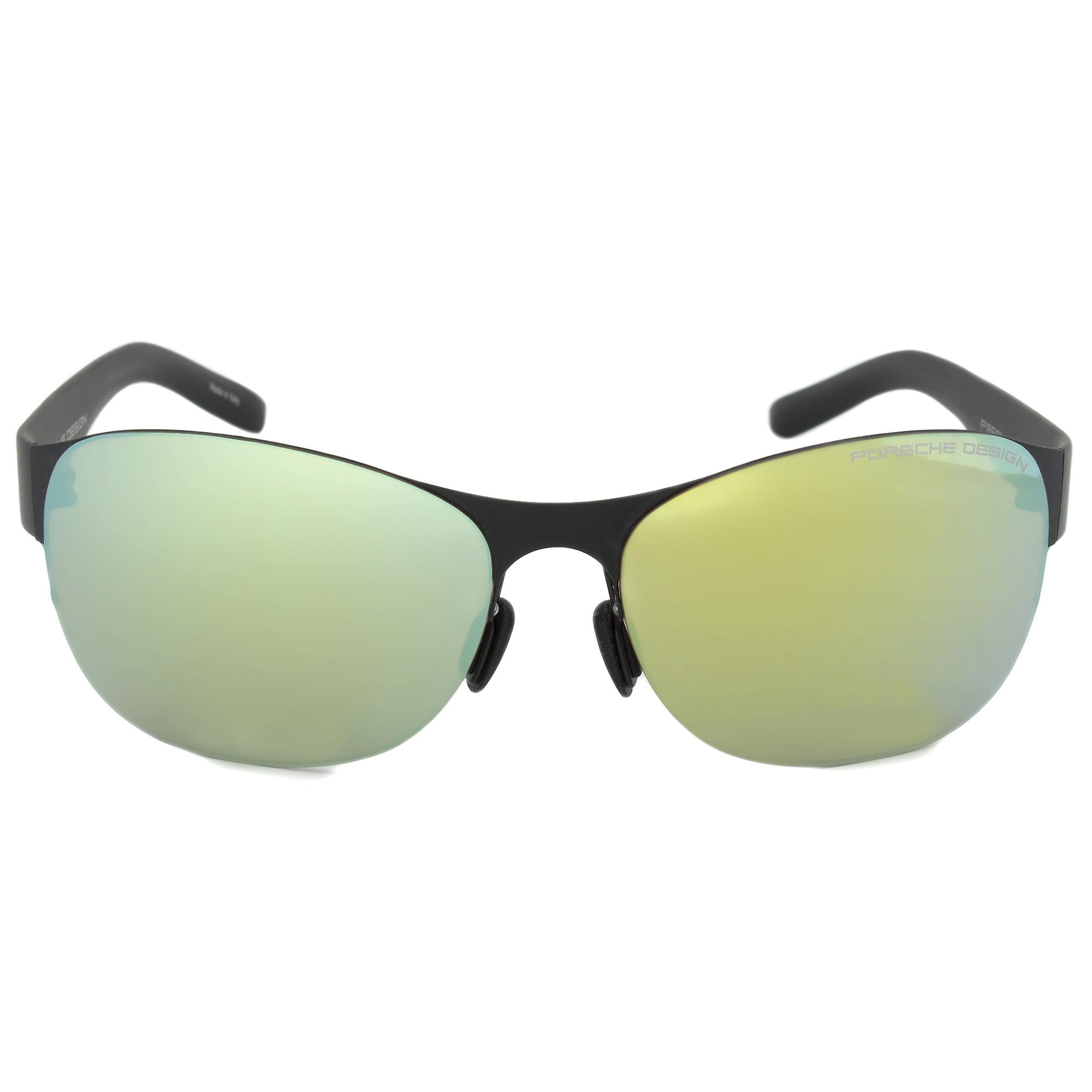 Porsche Design Design P8581 A Oval Sunglasses | Black Frame | Green Lens