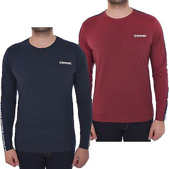 Lambretta Mens Long Sleeve Taped Cotton Crew Neck Casual T-Shirt Tee Top
