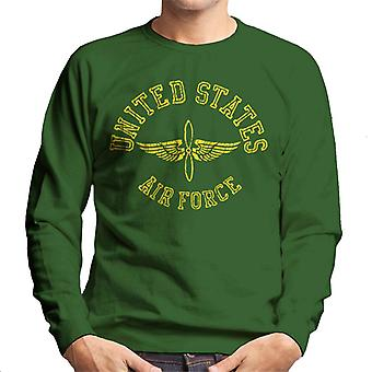 US Airforce Winged Propeller Yellow Text Men's Sweatshirt
