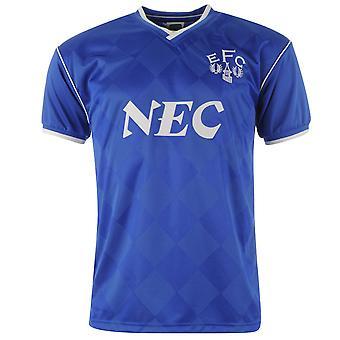 Score Draw Mens Everton Football Club 1987 Home Jersey Retro Shirt Short Sleeve