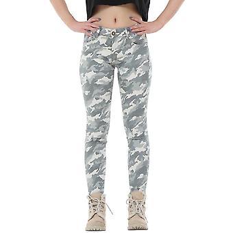 Army Camouflage Slim Stretch Skinny Jeans Cropped Short Leg