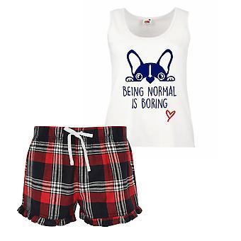 Frenchie Being Normal Is Boring Ladies Tartan Frill Short Pyjama Set Red Blue or Green Blue