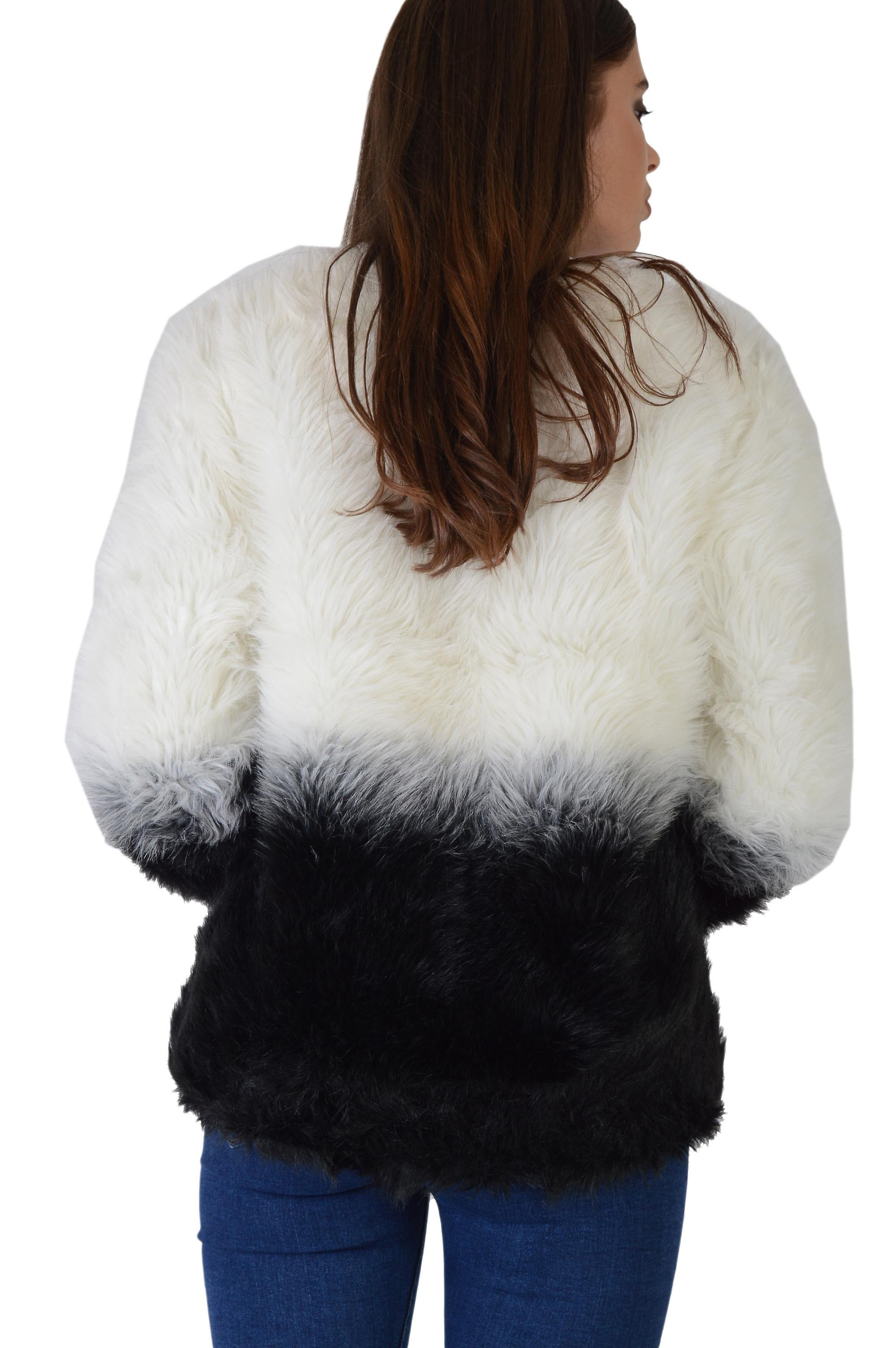 Lovemystyle White And Black Faux Fur Bomber Jacket