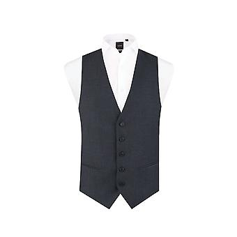 Dobell Mens Navy Prince of Wales Check Waistcoat Slim Fit 5 Button