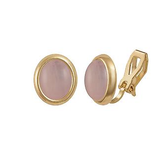Colección eterno Minué cuarzo rosa dorado Stud Clip en pendientes