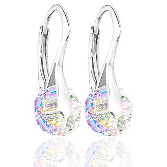 Ah! Jewellery Aurore Boreale Briolette Crystals From Swarovski Earrings, Sterling Silver